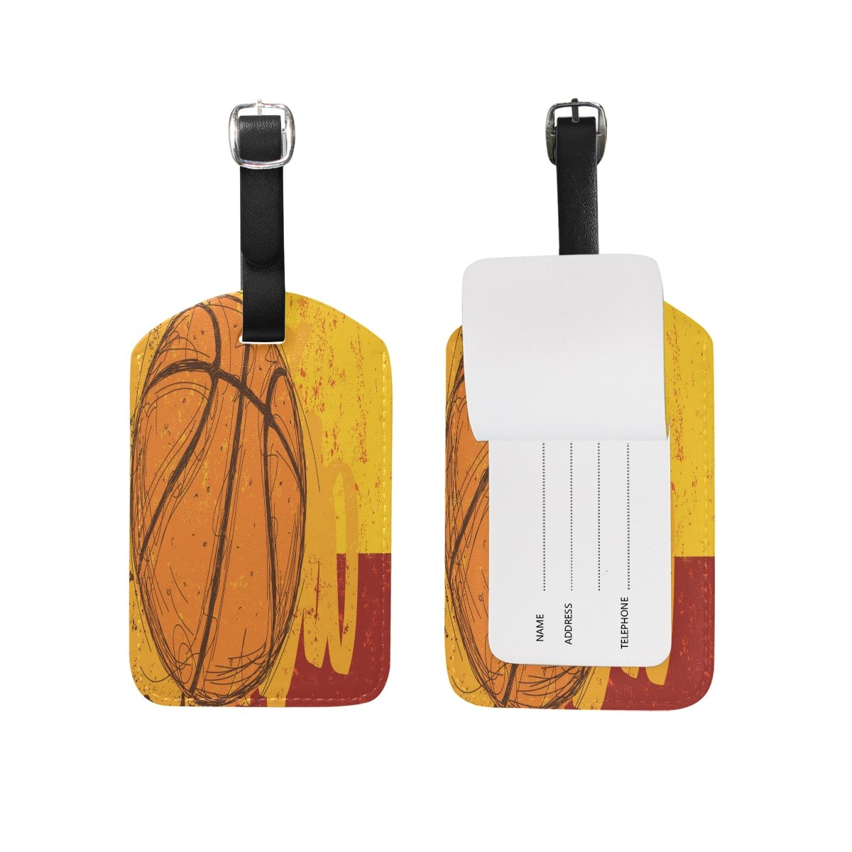 Saobao Travel Luggage Tag Sketchy Basketball PU Leather Baggage Travel ID