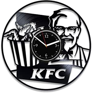Clock KFC Home Decor Fast Food Wall Clock Vintage Restaurant Vinyl Wall Clock KFC Vinyl Record Clock Fast Food Wall Clock Large French Fries Birthday For Him Fast Food Xmas For Woman