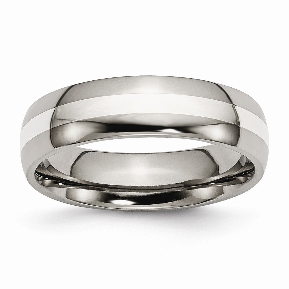 Titanium Sterling Silver Engravable Inlay 6mm Polished Band - Size 10