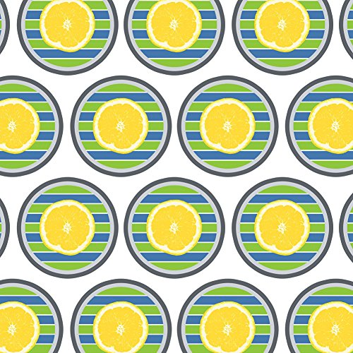 - Premium Gift Wrap Wrapping Paper Roll Summer Party Celebration BBQ - Lemon on Stripes