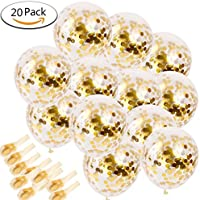 20 Pieces Gold Confetti Balloons, 12 Inches Party Balloons with Golden Paper Confetti Dots Perfect for Party Wedding Birthday gratuation Decorations by Asien (Gold)