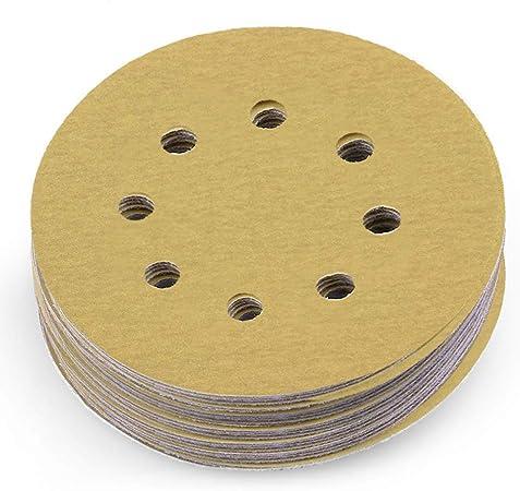 """5/"""" Inch 8 Holes 150 Grit Hook /& Loop Sanding Discs Orbital DA Disks 100 Pack"""