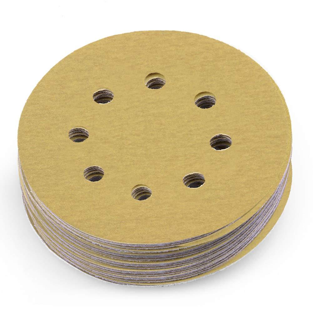 LotFancy 5-Inch 8-Hole 220 Grit Dustless Hook-and-Loop Sanding Disc Sander Paper, Pack of 100