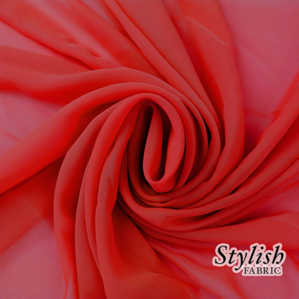 58'' RED Solid Color Sheer Chiffon Fabric by the Bolt - 25 Yards
