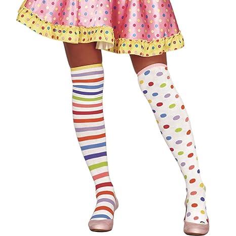 NET TOYS Calcetines de Colores Medias de Rodilla Payaso rayadas y con Puntos Pantis arlequín pantimedia