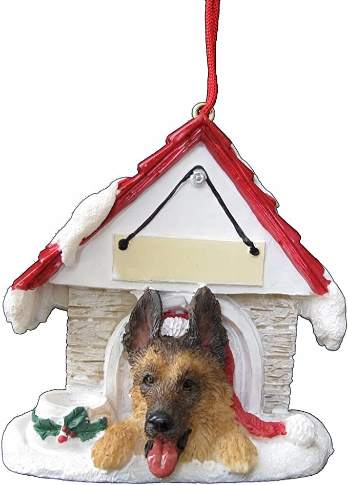 German Shepherd Ornament A Great Gift For German Shepherd Owners Hand Painted And Easily Personalized Doghouse Ornament With Magnetic Back Pet Supplies