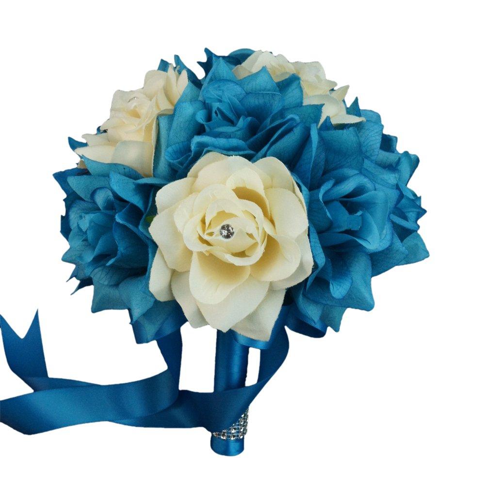 Amazon.com: Wedding Bouquet - 8\'\' - Malibu Turquoise Ivory Rose ...