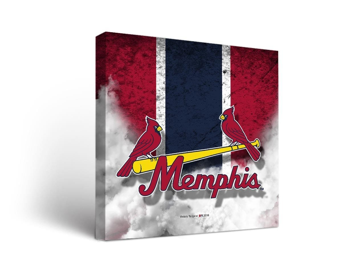 Memphis Redbirds MILBキャンバス壁アートヴィンテージデザイン 18x24  B01M0SGD0O