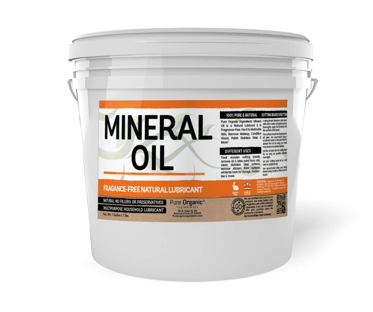 Mineral Oil (1 Gallon Bucket, 7 lbs) by Pure Organic Ingredients, Resealable Bucket, Food & USP Grade, Fragrance-Free, Wood Conditioner, Stainless Steel Polish, Moisturizer, Makeup Remover, Lubricant by Pure Organic Ingredients