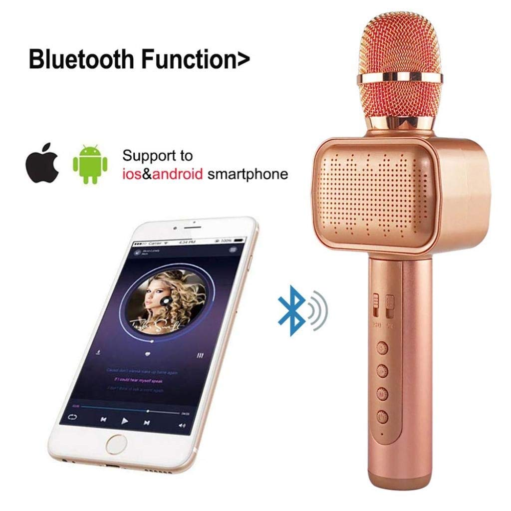 Rsiosle Wireless Bluetooth Karaoke Microphone with Disco Light Karaoke Machine Bluetooth Speaker Home KTV Music Player Handheld Mic Compatible with Android and iOS ( Color : Pink ) by Rsiosle (Image #4)