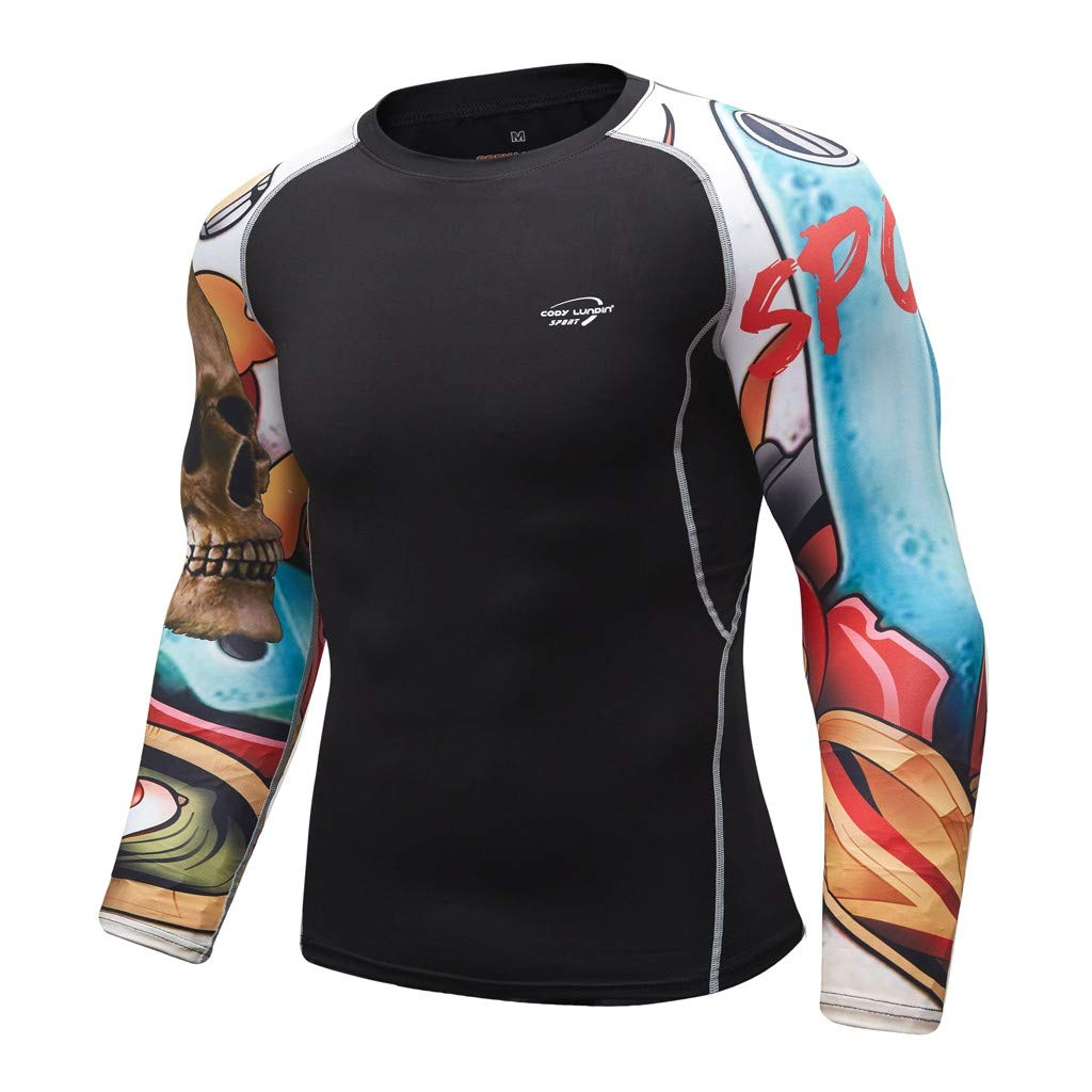 SKYLULU✿✿Mens Breathable Solid Color Sport Shirt Tops Long Sleeve Yoga Fitness Print Sport Soft T-Shirt Top Blouse