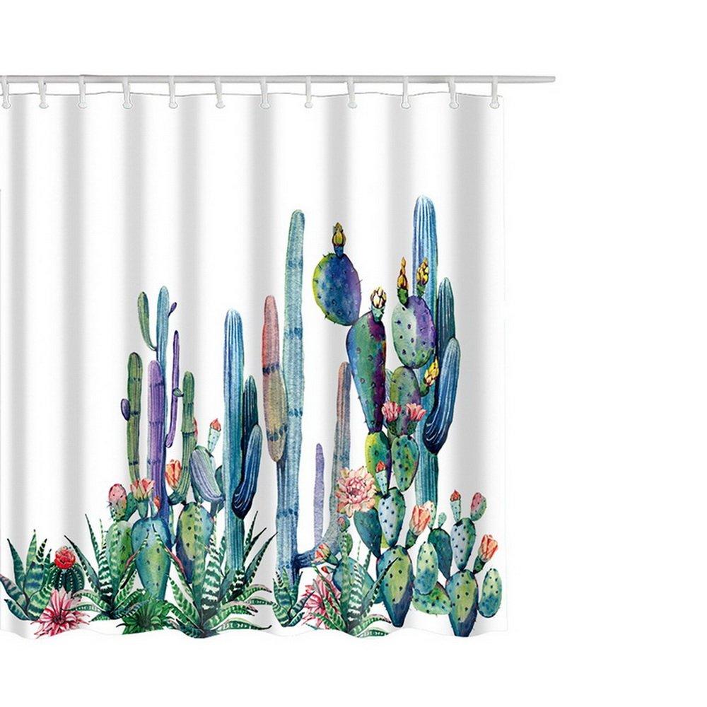 de poli/éster 180 x 180 cm Moderna Cortina de Ducha Estampada de Cactus con 12 Ganchos antimoho Impermeable Robluee