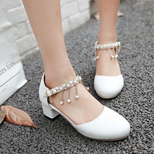 ... MissSaSa Damen Ankle-Strap blockabsatz Pumps mit künstlich Perlen Weiß