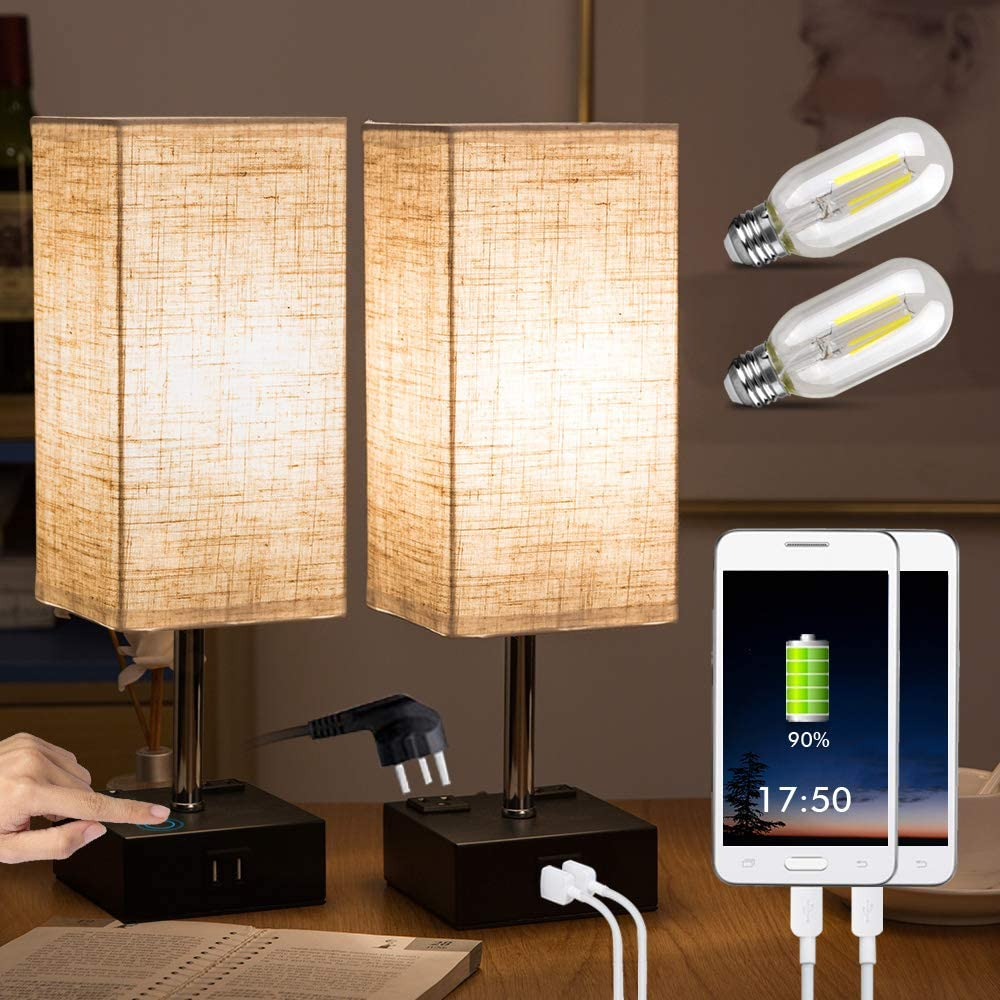 ZEEFO Touch Lamps, Nightstand Table Lamp Built-in Dual USB Charging Ports, 2 AC Outlet, Two Edison Dimmable LED Bulbs Include, Minimalist Design USB Desk Lamps Perfect for Bedroom, Office(Set of 2)
