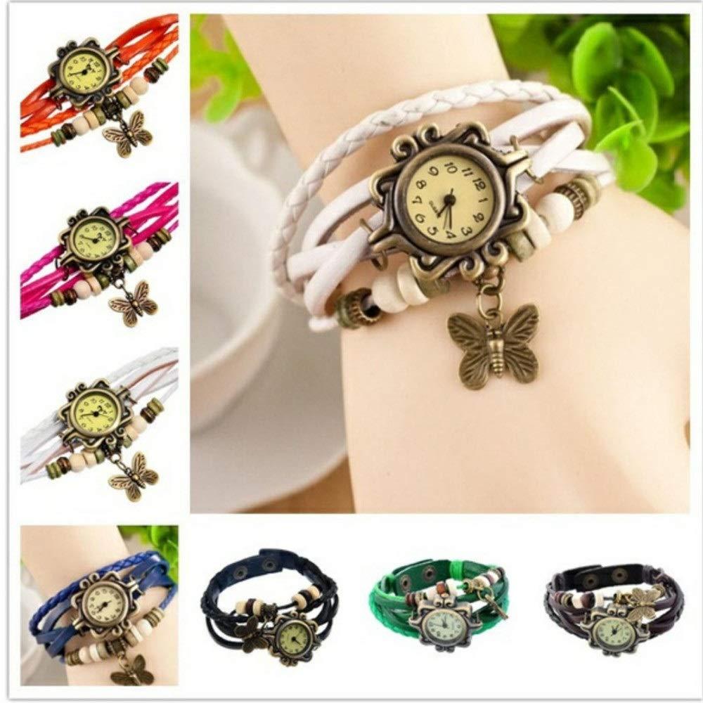 SSLA 80 pcs Mix Fashion Girls Women Butterfly Braided Leather Wrap Bracelet Quartz Wrist Watches