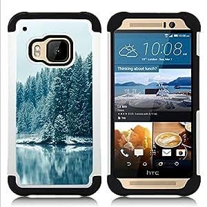 """HTC One M9 /M9s / One Hima - 3 en 1 impreso colorido de Altas Prestaciones PC Funda chaqueta Negro cubierta gel silicona suave (Nevado Forrest"""")"""