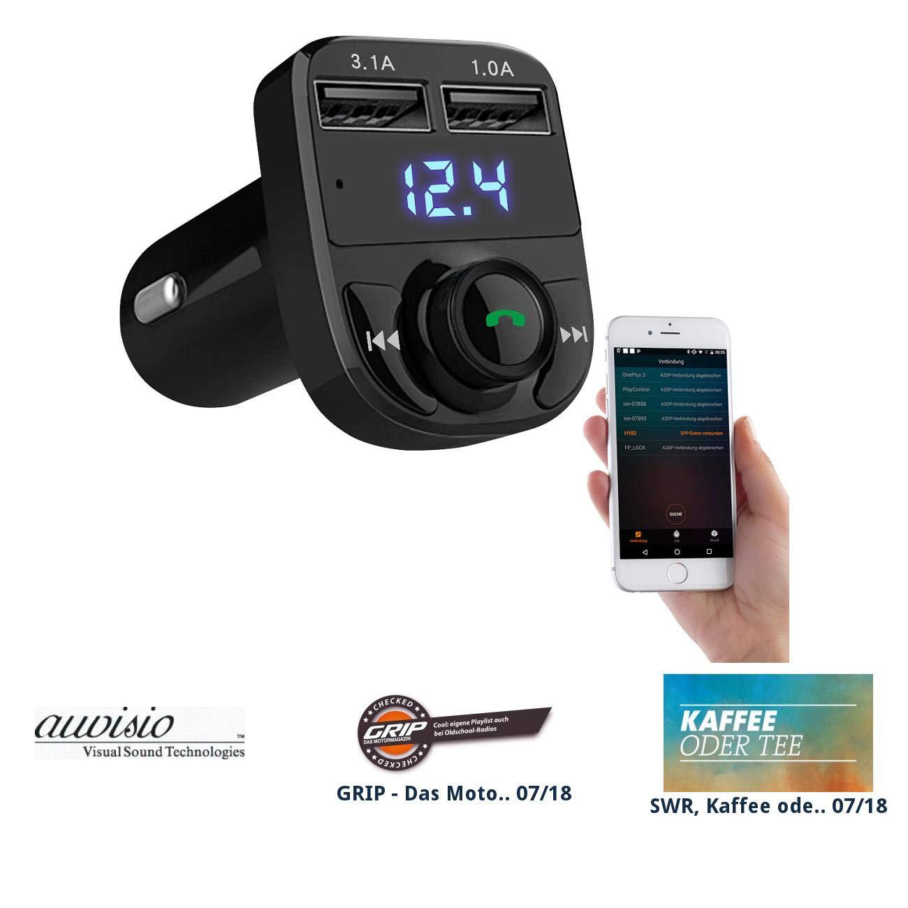 auvisio Auto Transmitter: 3in1-Kfz-FM-Transmitter, Freisprecher m. Bluetooth, Ladegerä t, mit App (USB Transmitter)