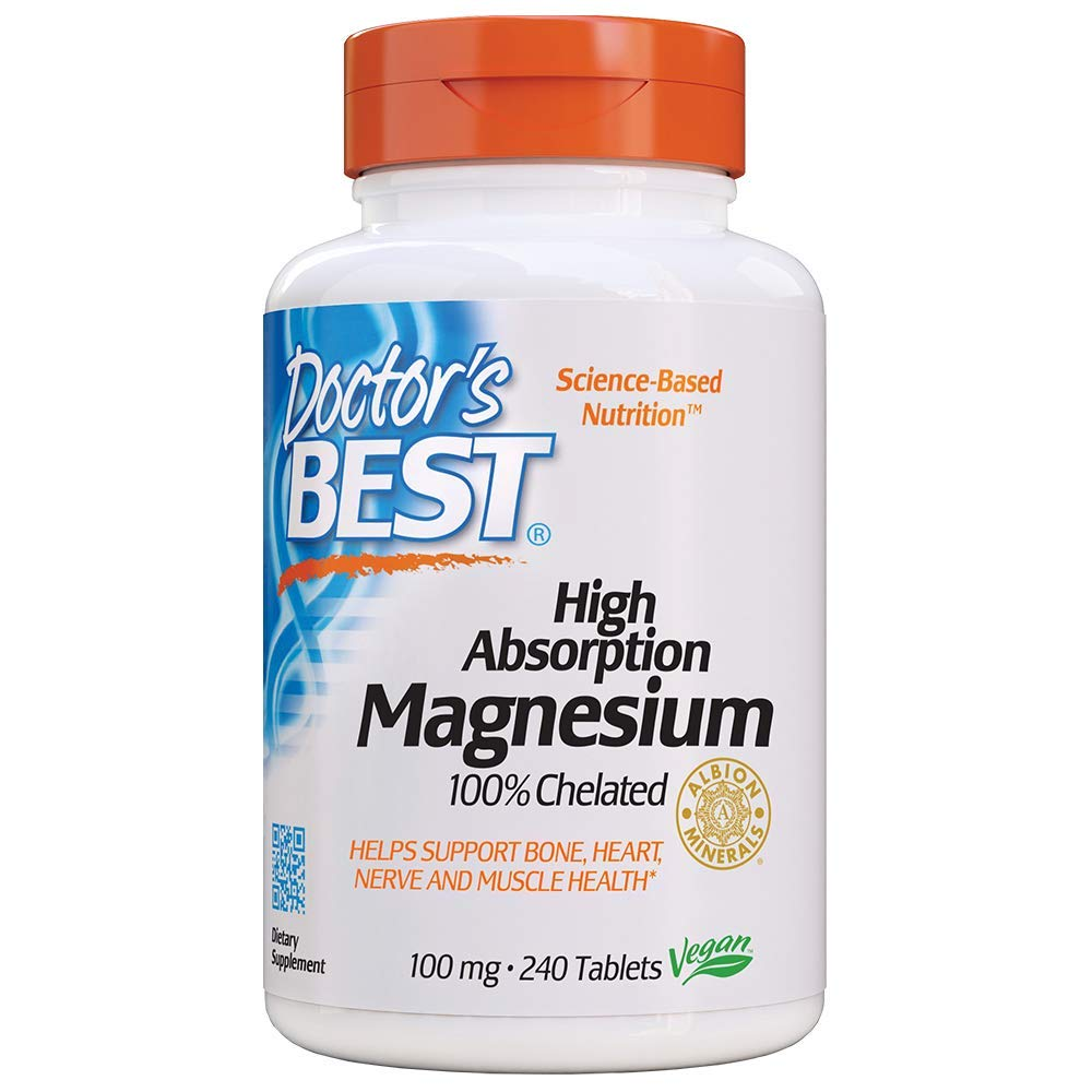 Doctor's Best High Absorption Magnesium Glycinate Lysinate, 100% Chelated, TRACCS, Not Buffered, Headaches, Sleep, Energy, Leg Cramps, Non-GMO, Vegan, Gluten Free, Soy Free, 100 mg, 240 Tablets by Doctor's Best