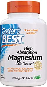 Doctor's Best High Absorption Magnesium Glycinate Lysinate, 100% Chelated, Non-GMO, Vegan, Gluten Free, Soy Free, 200 mg, 240 Tablets