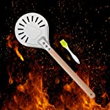 7inch Aluminum Metal Pizza Peel with 15.7inch Detachable Wooden Handle, Gourmet Luxury Pizza Paddle for Baking Homemade Pizza