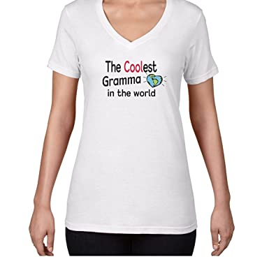 AW Fashions The Coolest Gramma in The World - Cool Grandma Shirt Womens V-Neck