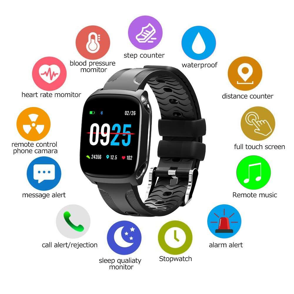 Smartwatch Reloj Inteligente Pulsera Actividad Inteligente para Deporte,Toque completo Pantalla a color de 1.3 pulgadas Reloj Iinteligente Hombre Mujer ...