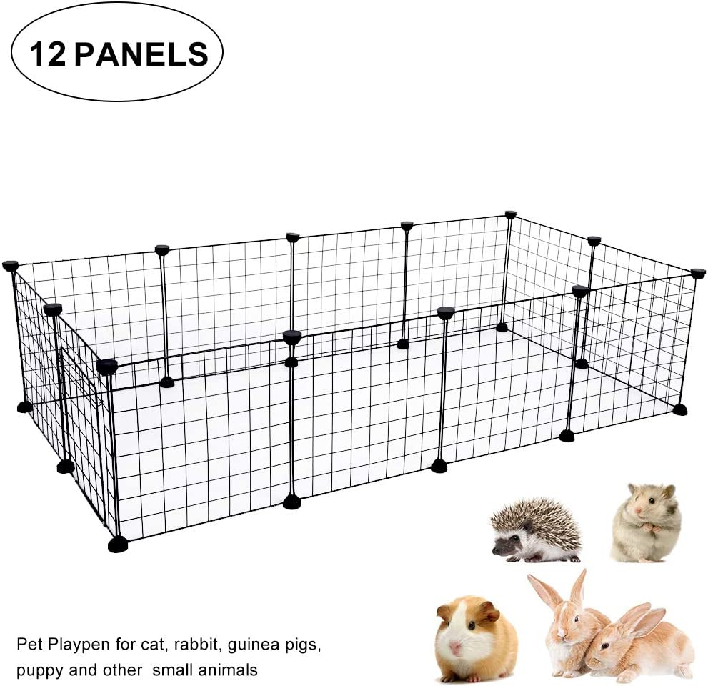 Cocoarm Metal Playpen Pets 35 Panel and 1door Black Expandable Wire Cage Pet Fence Exercise Pen with Door for Small Animal Dutch Pig Puppy Rabbit Indoor and Outdoor