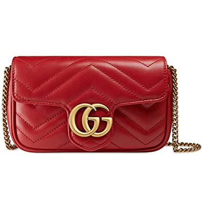 ac06ba77e25a Amazon.com: Gucci GG Marmont Matelasse Leather Super Mini Bag Handbag  Article:476433 DSVRT 6433: Shoes