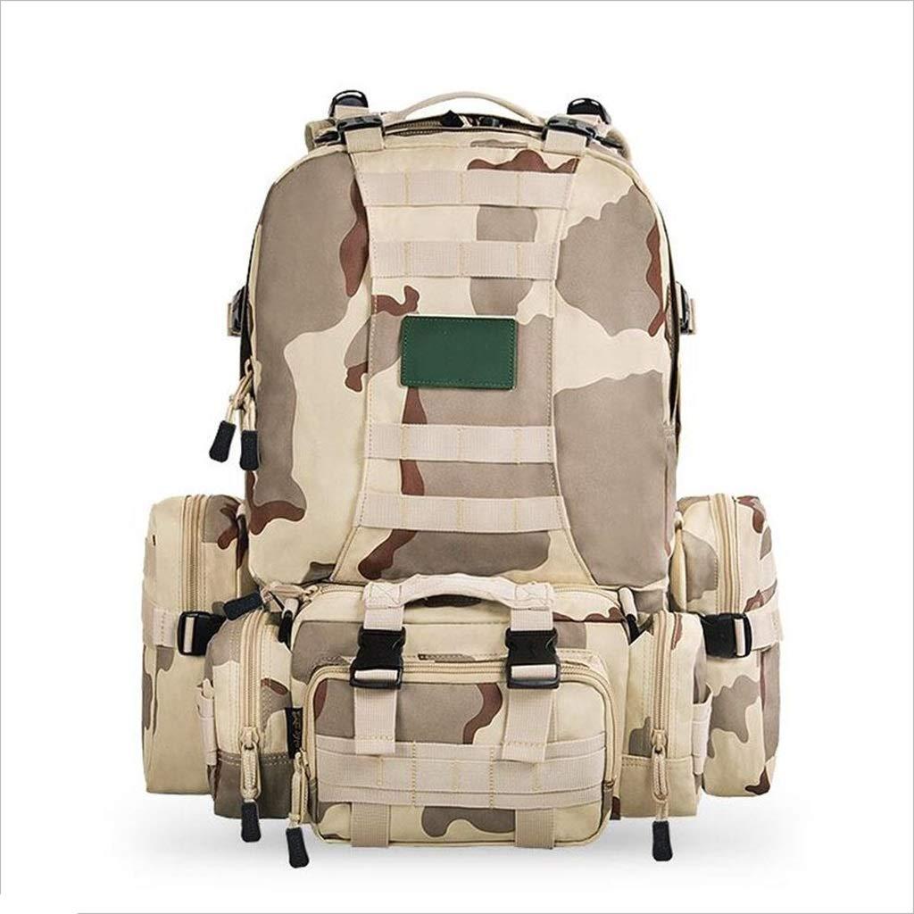Xy Bergsteigen- Multifunktionale Kombination Bergsteigen Tasche, Männer Und Frauen Camouflage Outdoor Wandern Abnehmbare Wasserdichte Montage Vier-in-one-Paket 45L-60L (Farbe : A)