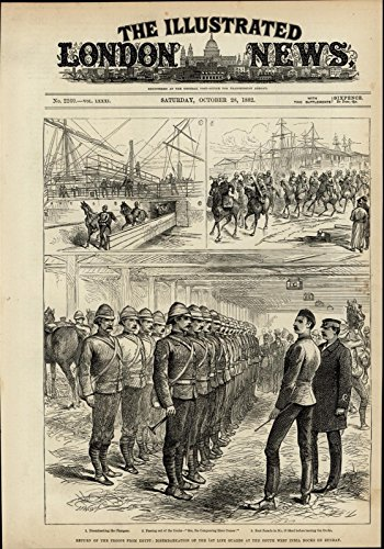 India Docks - Troops Returning from Egypt West India Docks 1882 great old print for display