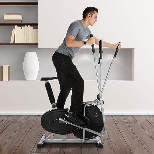 Finether Bicicleta Elíptica Multifuncional con 5 Pantallas de LCD, Capacidad de Carga 120 kg, Negro: Amazon.es: Deportes y aire libre