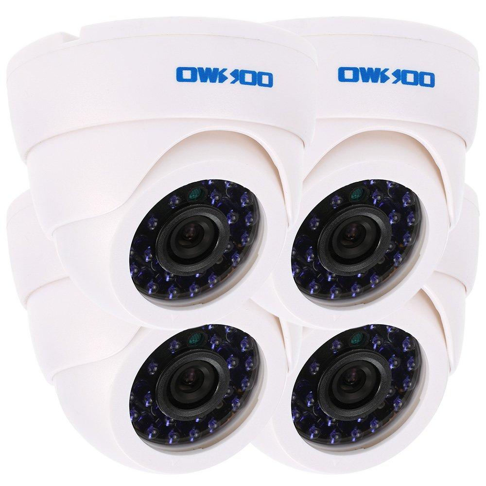 OWSOO 800TVL CCTV Security Surveillance Kit 4Indoor Camera + 460ft Cable 3.6mm 24LEDs IR-CUT Night View Plug and Play (Power Plug: 1=EU / 2=US / 3=UK / 4=AU) KKmoon YOW1235437616929BA