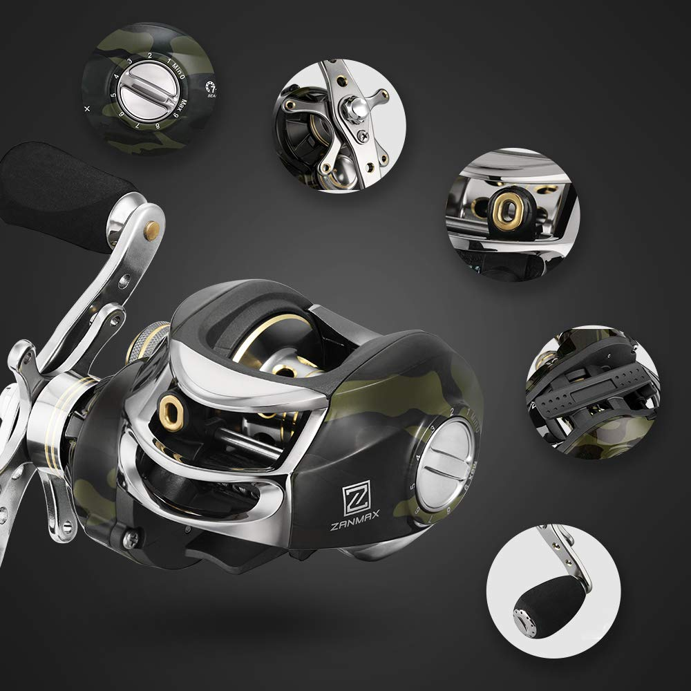 Baitcasting Reel, Stainless Steel Silent Fishing Reel Tools Bearings 7.0 1 Gear Ratio, Super Drag, Magnetic Tuned Dual Brakes, Saltwater Freshwater Right Handed Reel for Bass Crappies Walleyes