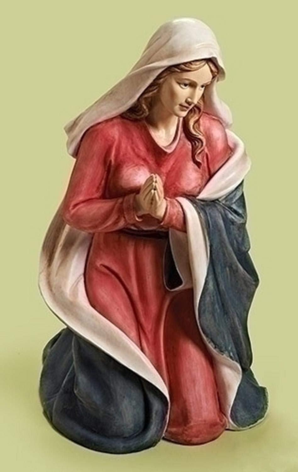 40'' Red and Beige Religious Christmas Kneeling Mary Nativity Figure