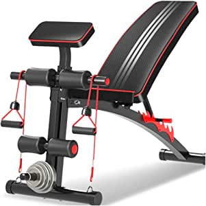 Adjustable Benches Dumbbell Bench sit-ups Fitness Equipment Home Multi-Function aid Bird Bench Bench Indoor Fitness Chair Load-Bearing 150KG (Color : Black, Size : 140 * 50 * 106cm(55 * 20 * 41in))
