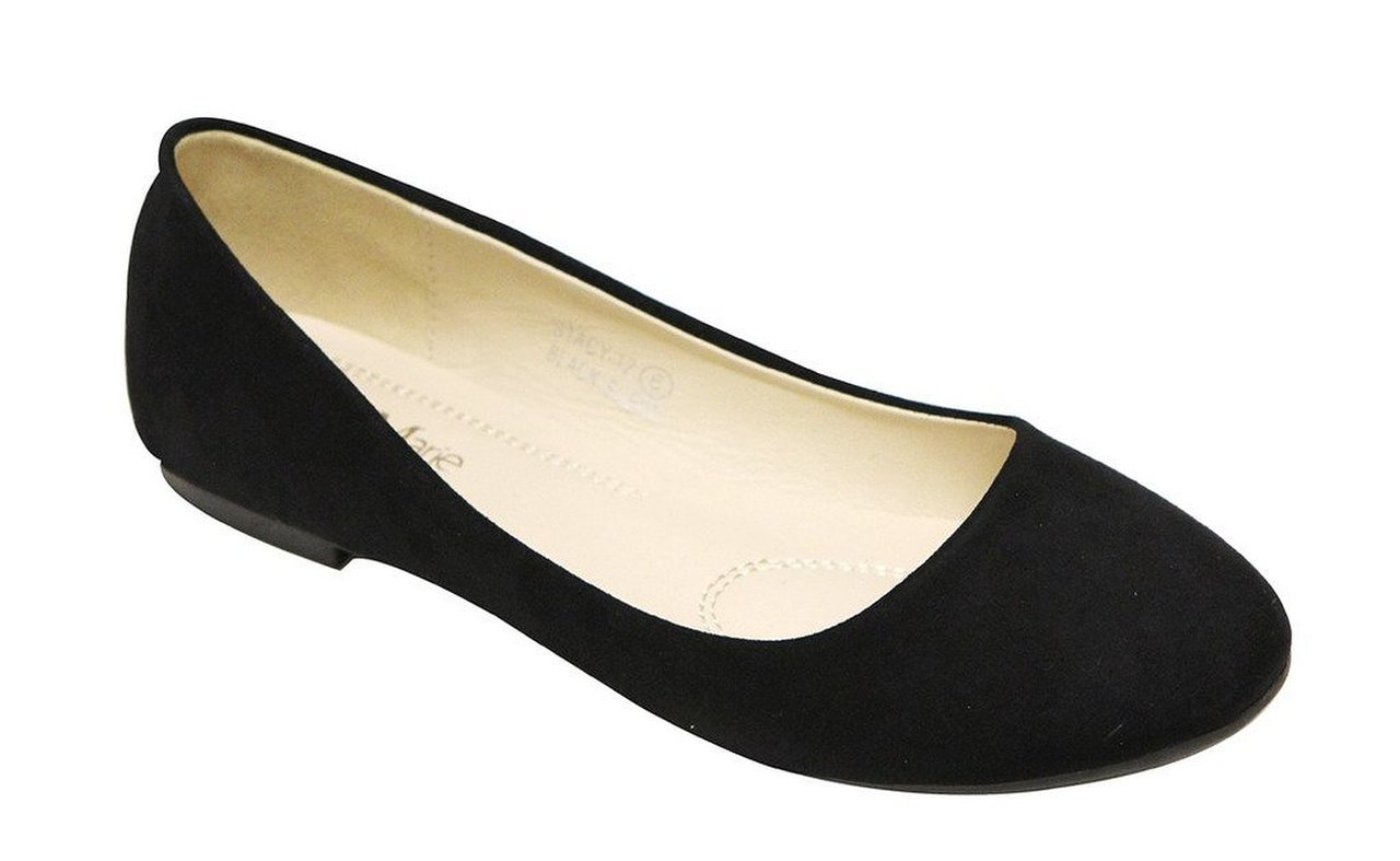 Bella Marie Stacy-12 Women's Round Toe Suede Leather Slip on Boat Ballet Flat Shoes Black 8.5