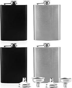 Tebery 4 Pack 8 oz Stainless Steel Hip Flask Set Leakproof Flask with 4 Free Bonus Funnels Great Groommans or Bridal Wedding Gift (Black & Silver)