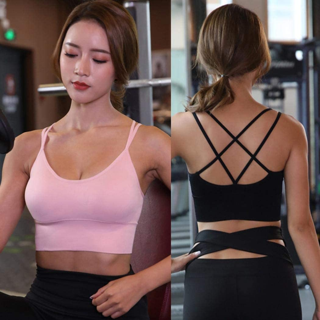 Lome123 Women Sports Yoga Bra Casual Solid Spaghetti Strap Sleeveless Cross Strap Yoga Bra