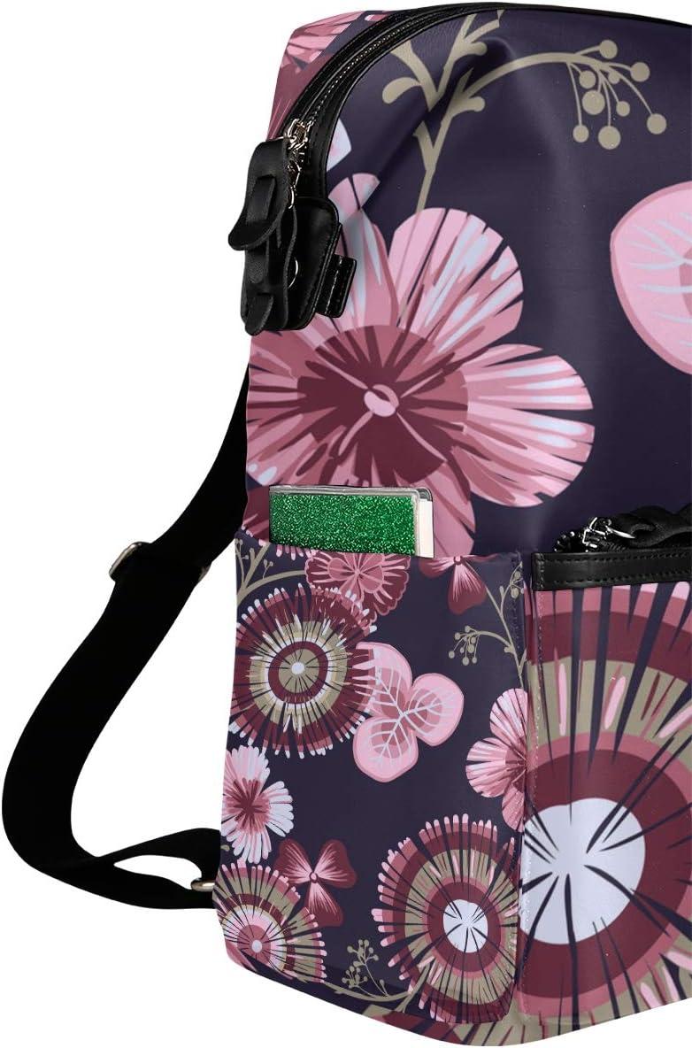 Backpack Rucksack Travel Daypack Flower Leaf Book Bag Casual Travel Waterproof