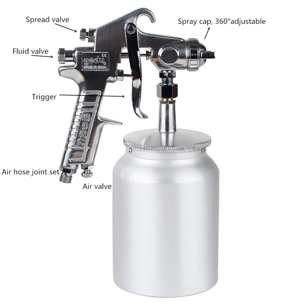 High Pressure Spray Gun with 1000cc Cup, 2.0mm Nozzle, sliver by Gedu (Image #6)