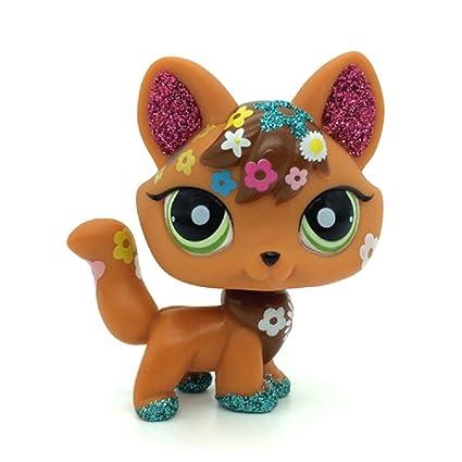 Amazoncom Mini Pet Shop Lps Brown Red Sparkle Fox Green Eyes Dog