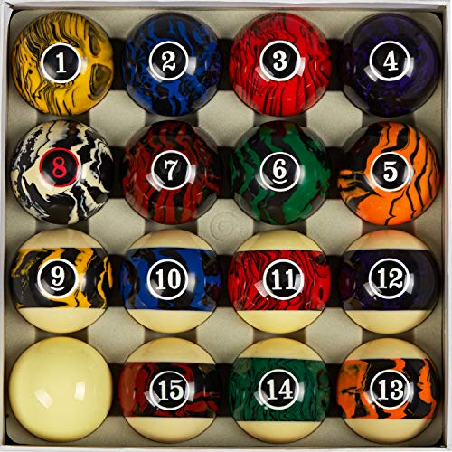 Collapsar Premium 2-1/4 Inch Regulation Size Billiard Balls Pool Ball Marble-Swirl Style AAA Grade Pool Balls Billiard Set (Several Style Available) (Black Marble with Art Number)
