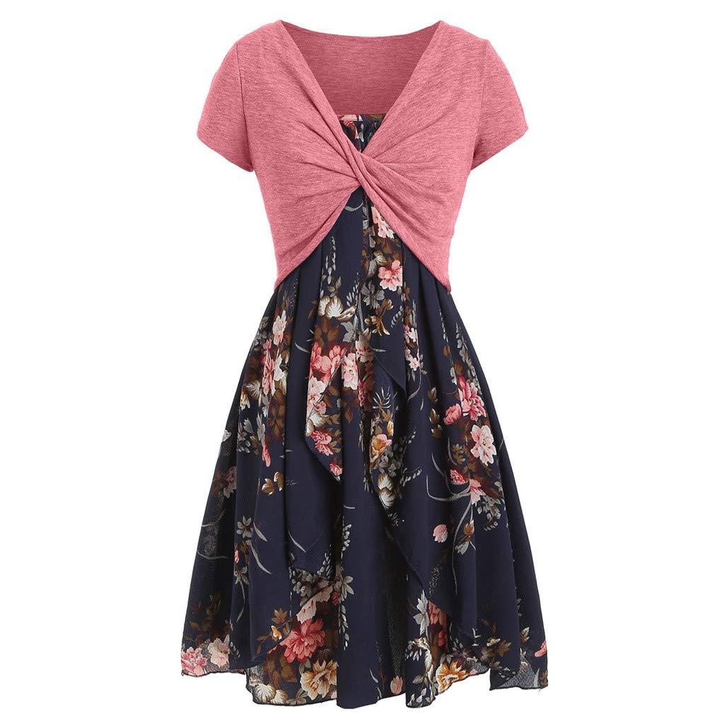 Drucken Kleid Boho Kleider Casual Damen Set, Sommerkleid Frauen Chiffon Kurz Strandkleider Elegant Minikleid Sexy Partykleid Mini A Linie