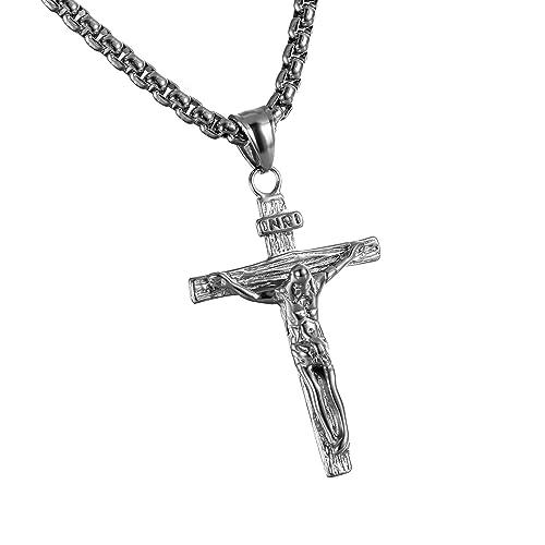 5b2a0c06d8183b Cupimatch collana da uomo in acciaio INOX Gesù Cristo crocifisso croce  catena nero argento: Amazon.it: Gioielli