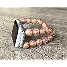 Murano Glass Stones Bracelet For Apple Watch Series 1 2 & 3 (38mm) Handmade Tropical Coral Color Venice Glass Rose Design Beads Apple Watch Band Luxury Jewelry Adjustable 5 inches Size Wristband