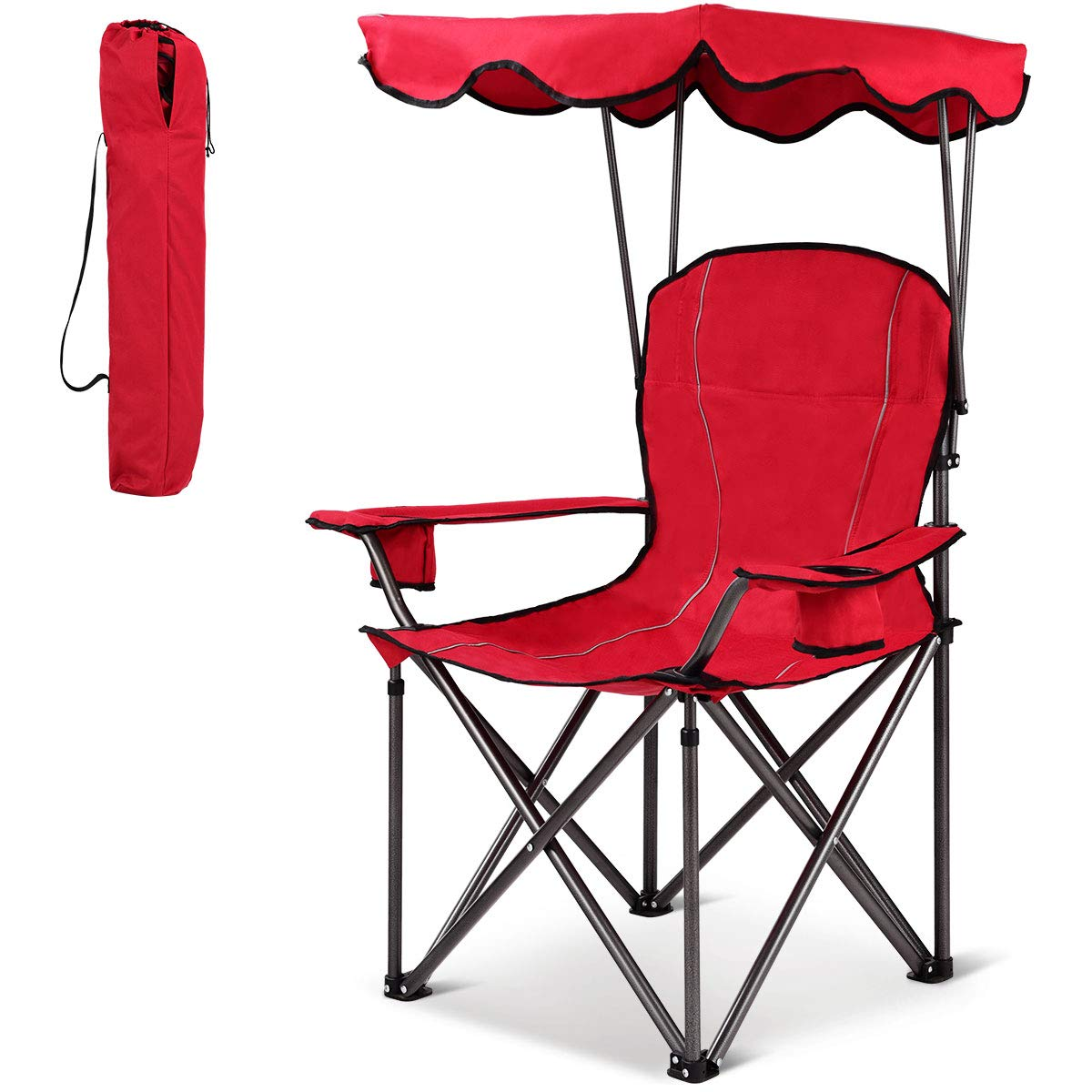 GYMAX Canopy Chair, Portable Folding Beach Chair Picnic Chair with Canopy Two Cup Holders and Carry Bag, for Outdoor Beach Camp Park Patio