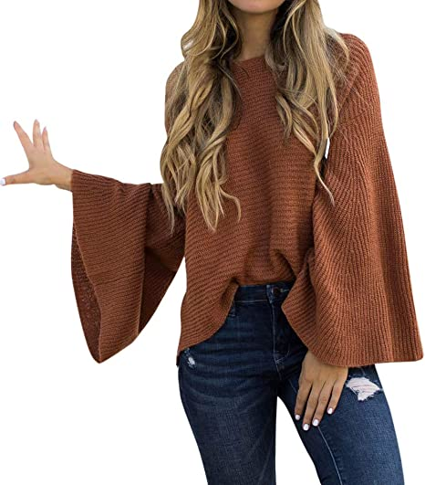 Womens Tops,Sweaters for Women ClearanceO-Neck Solid Color Batwing Sleeve Irregular Hem Blouse Tops