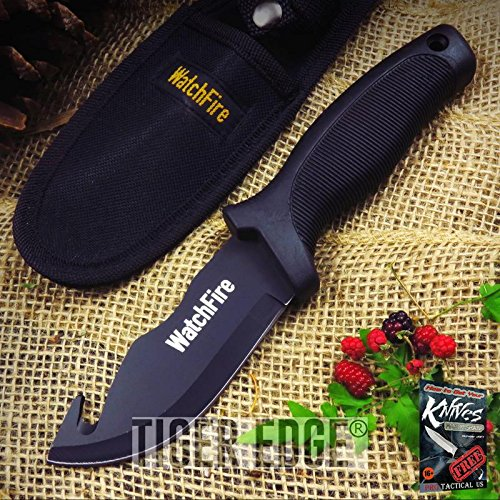 Hook Rubber Gut Handle (FIXED-BLADE HUNTING Elite Knife WatchFire Black Gut Hook Survival Rubber Handle + free eBook by ProTactical'US)