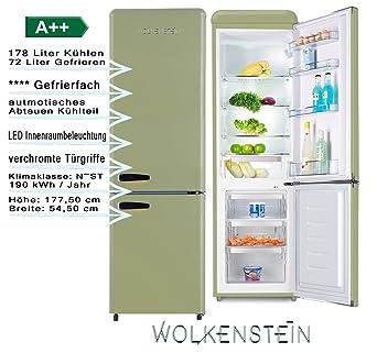 Lieblich Wolkenstein KG250.4RT SG A++ Retro Kühl Gefrier Kombination Hellgrün  250Liter 55cm Breit, Kühlschrank, Automatisches Abtauen,großes Gefrierfach:  Amazon.de: ...