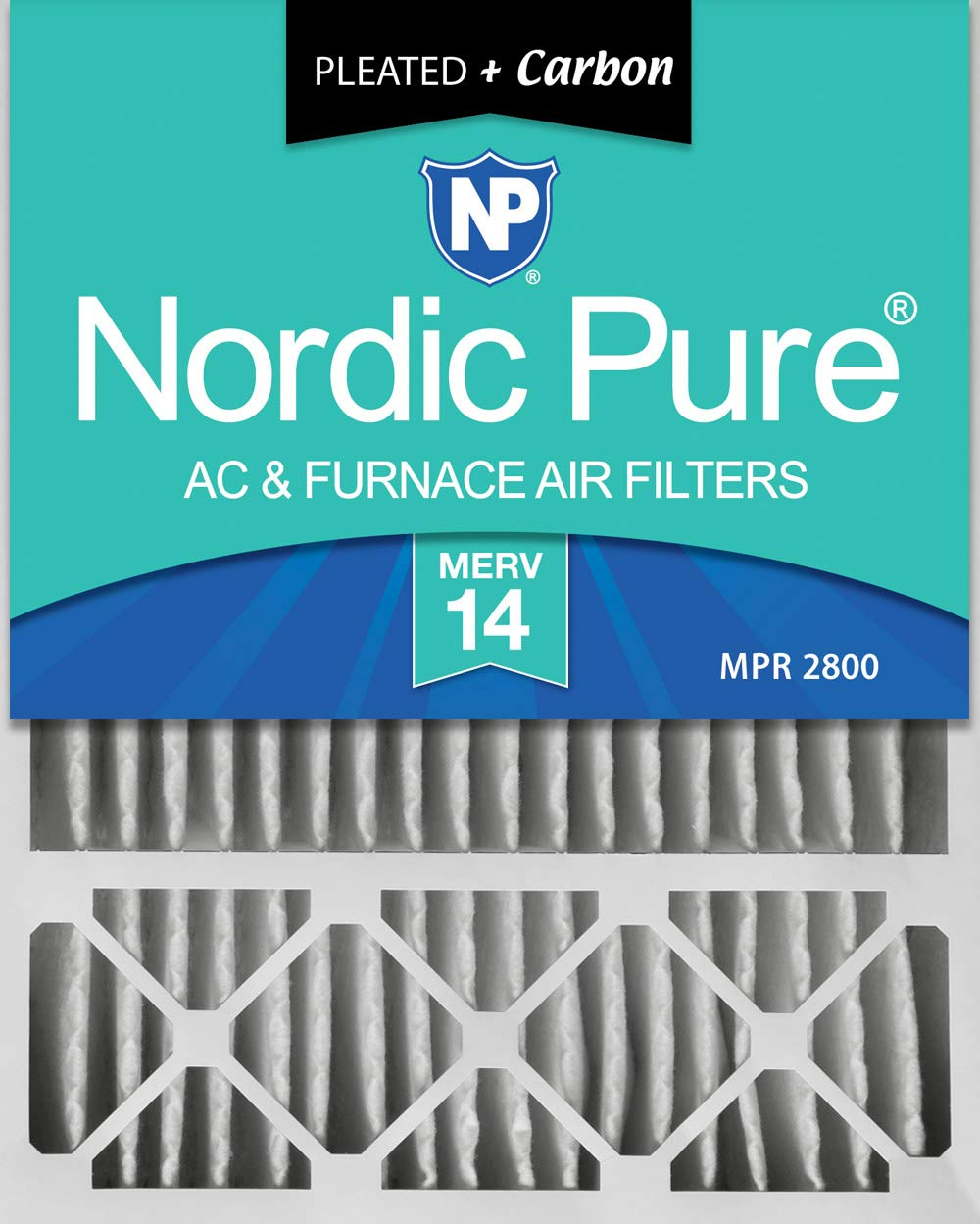 Nordic Pure 20x25x5 (4-3/8 Actual Depth) MERV 14 Plus Carbon Lennox X6675 Replacement AC Furnace Air Filter, 1 PACK